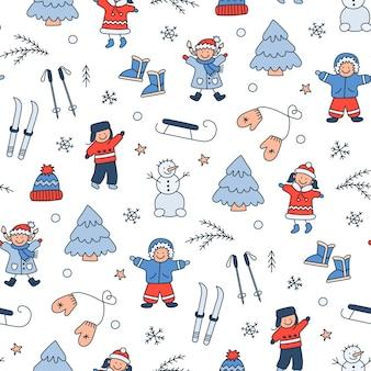 Naadloos patroon met spelende kinderen in de winter. kinderen, sneeuwpop, sleeën, skiën in doodle-stijl. hand getekende winter objecten. vectorillustratie op witte achtergrond