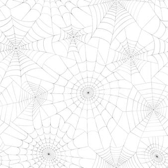 Naadloos patroon met spinnenweb. halloween-decoratie met spinnenweb. spinnenweb platte vector