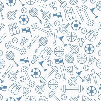 Naadloos patroon met sportthema