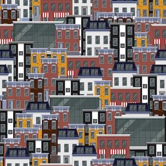 Naadloos patroon met stadsgebouwen