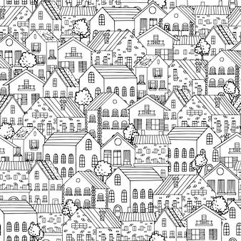 Naadloos patroon met stadshuizen.