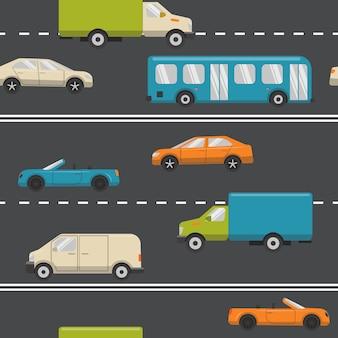 Naadloos patroon met stadsvervoer