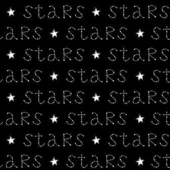 Naadloos patroon met sterren en handgeschreven tekst