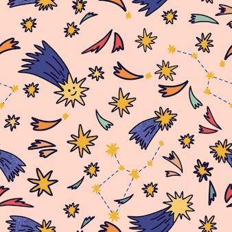 Naadloos patroon met sterren. het kan worden gebruikt voor bureaubladachtergrond of frame voor een wanddecoratie of poster, voor opvulpatronen, oppervlaktestructuren, webpagina-achtergronden, textiel en meer. ruimte achtergrond