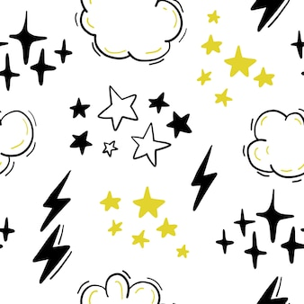 Naadloos patroon met sterren, wolken, bliksem in de hand getekende komische stijl. krabbelen, krabbelen. kwekerij omtrek tekenen.