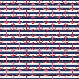 Naadloos patroon met strepen en ankers. nautische en zeereizen thema's.