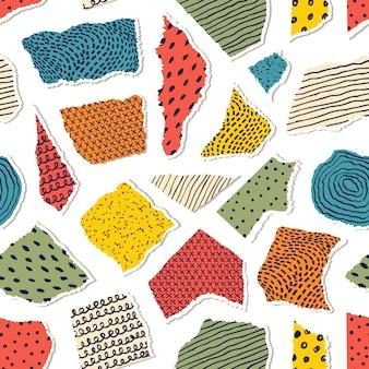 Naadloos patroon met stukjes papier