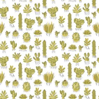 Naadloos patroon met succulent en cactussen met wortels