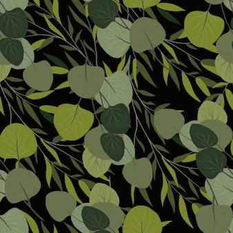 Naadloos patroon met takken van een wilg en een eucalyptus