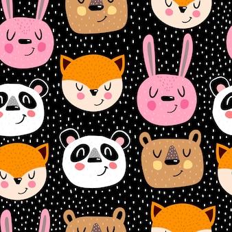 Naadloos patroon met tekenfilmdieren