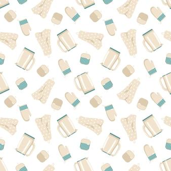 Naadloos patroon met theepot pannenlappen en handdoeken keuken print met kookgerei koken eten...
