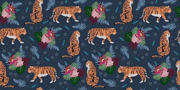 Naadloos patroon met tijgers en bloemen