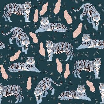 Naadloos patroon met tijgers. stijlvolle illustratie. chinees blauw aquatisch nieuwjaarssymbool.