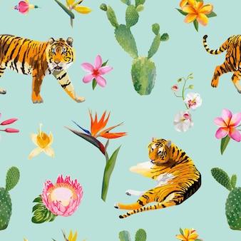 Naadloos patroon met tijgers