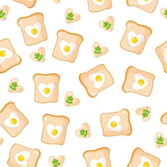 Naadloos patroon met toast en gebakken eieren in de vorm van een hart, ontbijt.