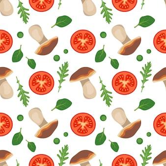 Naadloos patroon met tomaten, champignons, rucola en spinazie, laat gezond veganistisch eten rode groente