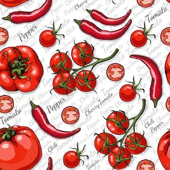 Naadloos patroon met tomaten en spaanse peperpeper