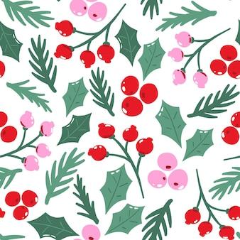 Naadloos patroon met traditioneel kerstmisgebladerte.