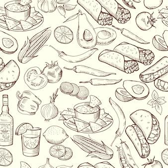 Naadloos patroon met traditioneel mexicaans voedsel