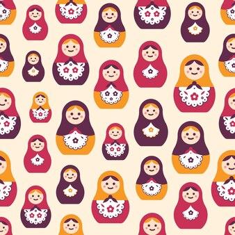 Naadloos patroon met traditionele russische folk handgemaakte poppen.