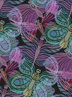 Naadloos patroon met transparante vlinders op een donkere achtergrond