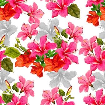 Naadloos patroon met tropicall bloem vectorillustratie