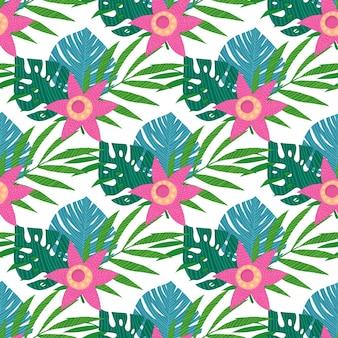 Naadloos patroon met tropische bladeren op witte achtergrond