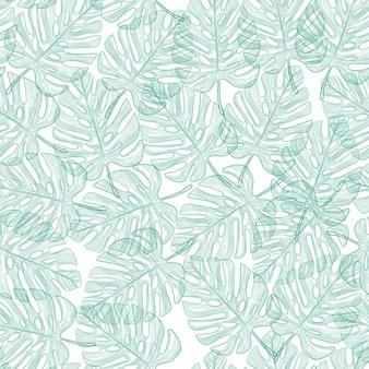 Naadloos patroon met tropische bladeren op zwarte achtergrond