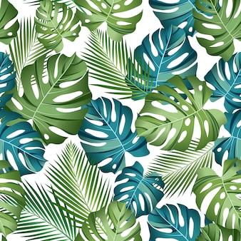 Naadloos patroon met tropische bladeren: palmen, monstera, jungleblad