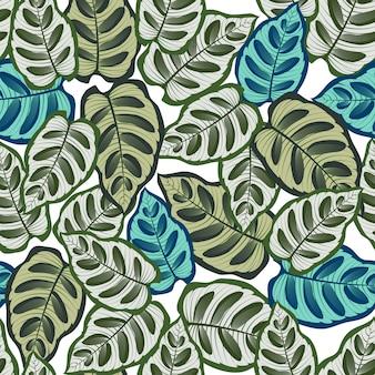 Naadloos patroon met tropische bladeren