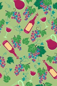Naadloos patroon met trossen druiven en wijn. vectorafbeeldingen.