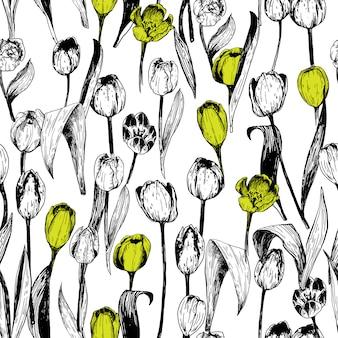 Naadloos patroon met tulpen