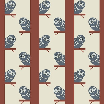 Naadloos patroon met uilen op bomen