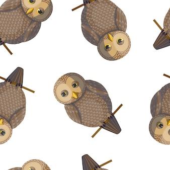 Naadloos patroon met vector bruine uilen.