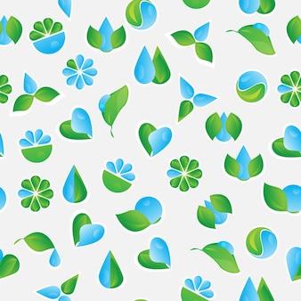 Naadloos patroon met vector eco icons - achtergrond voor uw ontwerp