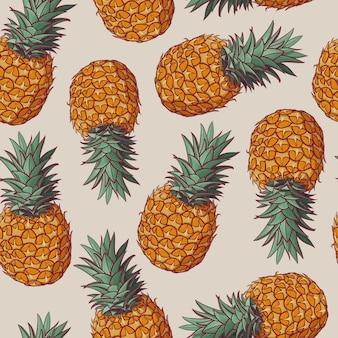 Naadloos patroon met vectorillustraties van ananassen.