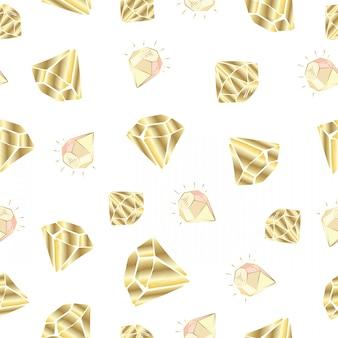 Naadloos patroon met vectorkristallen of gemmen