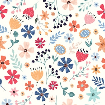 Naadloos patroon met veelkleurige bloemen