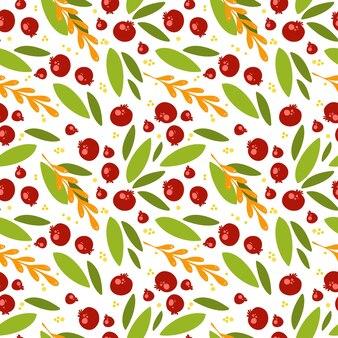 Naadloos patroon met veenbessen en bladeren