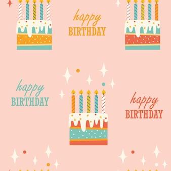 Naadloos patroon met verjaardagstaart en kaarsen op roze achtergrond vectorillustratie