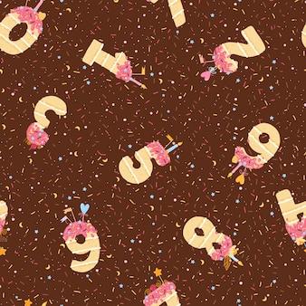 Naadloos patroon met verjaardagstaarten in de vorm van getallen van 1 tot 10