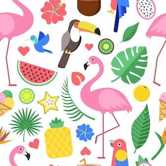 Naadloos patroon met verschillende afbeeldingen van tropische bloemen en andere planten. naadloze bloesem plant, watermeloen en ananas, flamingo vogel achtergrond.