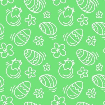 Naadloos patroon met verschillende eieren bloemen kip op groene achtergrond ontwerp voor textiel