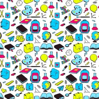 Naadloos patroon met verschillende elementen voor school.