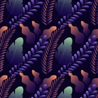 Naadloos patroon met verschillende exotische bladeren op donkerblauw
