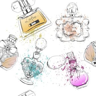 Naadloos patroon met verschillende flessen parfum