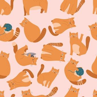 Naadloos patroon met verschillende grappige katten en speelgoed