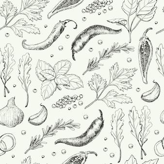 Naadloos patroon met verschillende kruiden