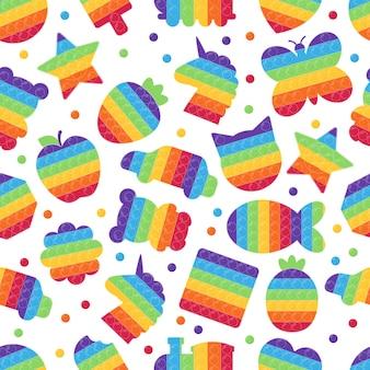 Naadloos patroon met verschillende pop it-speeltjes