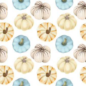 Naadloos patroon met verschillende soorten pompoenen